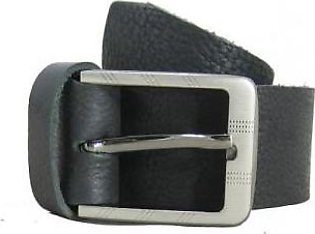 House of Leather Black Textured Leather Belt for Men