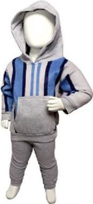 Blue Store Blue & Grey Winter Suit Pullover Hoodie Style For Baby Boy