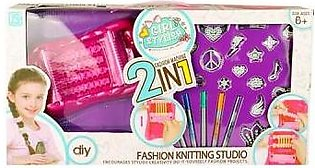 Dukaan4all Flagship Store Girl Stylish 2 In 1 Fashion Knitting Studio