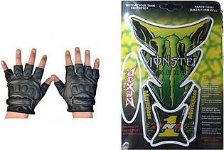 Mehdi Traders Pack of 2- Rider Gloves &Monster Energy Sports Bike Tank Sticker