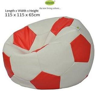 Relaxsit Jumbo Size Leather Football Bean Bag - White & Red