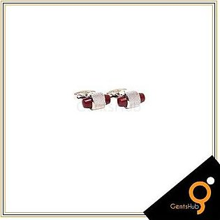 Gents Hub Cufflinks Capsule Style Silver with Maroon Acrylic for Men