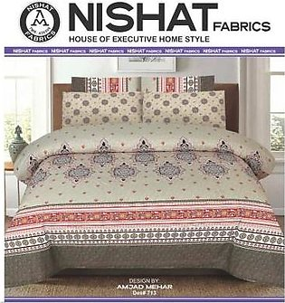 Tabarruk Nishat Fabrics King Size Cotton Bed Sheet With Pilow Covers - DES 713