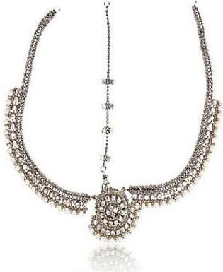 Onlinejewellery SILVER PEARL MATHA PATTI FOR WOMEN