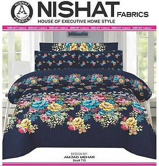 Tabarruk Nishat Fabrics King Size Cotton Bed Sheet With Pilow Covers - DES715