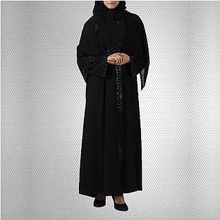 Hijab Ul Hareem Black Georgette Front Open Abaya with Stonework - 0121-C-744