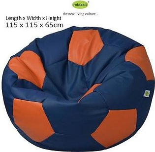 Relaxsit Jumbo Size Leather Football Bean Bag - Blue & Orange