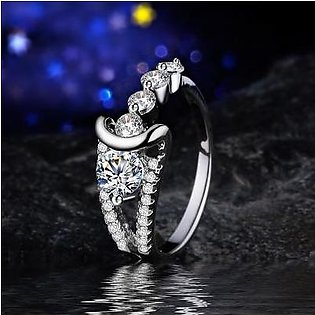 FASHION BAZAR White Gold-Color Wedding Rings for Women