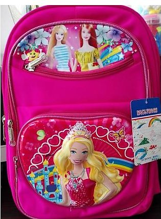 M Toys Sports & Stationers Barbie 3D-Cartoon Character Pink School Bag for Mo...