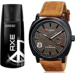 Kureshi Collections Bundle Offer - Brown Curren Watch & AXE Peace Body Spray-...