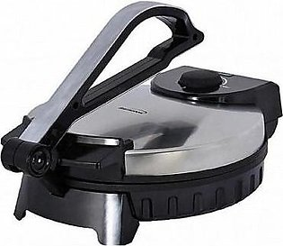 HS COSMO Roti Maker Stainless Steel Non-Stick Electric Maker-08 Inch-Black & Silver