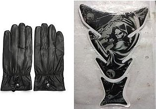 Mehdi Traders Pack of 2- Rider Gloves & Animated Skull Sports Bike Tank Sticker