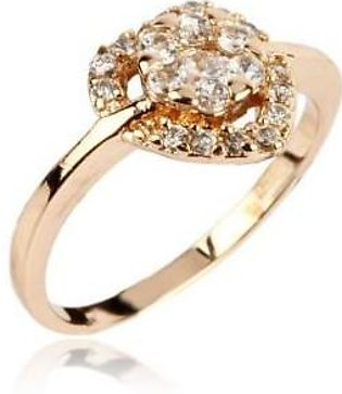 Fashion Cafe White Zircon 24-K Gold Plated Ring