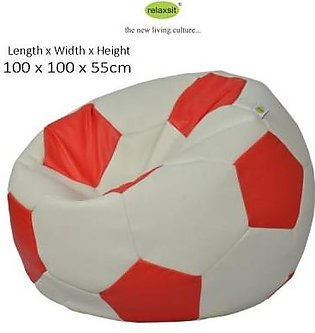 Relaxsit King Size Leather Football Bean Bag - White & Red