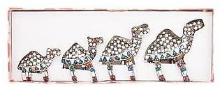 Fashion Cafe Mirror Work & Beaded Classic Camel Family Set Decoration Piece