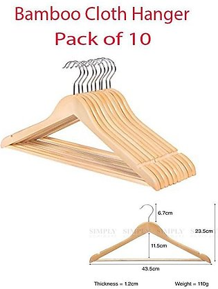 Relaxsit Relaxsit Pack Of 10 Clothes Hangers Natural Wooden Wood Clothes - Co...