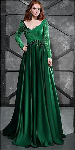 United Traders Green Stylish Party wear maxi dress