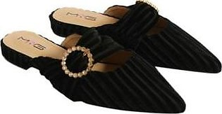 Metro Metro Shoes and Bags Fancy Flat Slippers For Women SD-1128 Black
