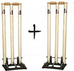 M Toys Sports & Stationers Wooden Cricket Wickets With Spring Metal Base - Set …