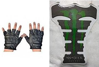 Mehdi Traders Pack of 2- Rider Gloves & Monster Energy Sports Bike Tank Sticker