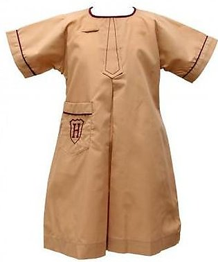 Liberty Uniforms Habib Girls School Uniform Fawn Plate Frock Half Sleeves