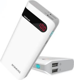 Romoss Power Bank-10000mAh Power Bank with LED Display - White