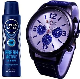 Kureshi Collections Pack of 2 - Analog Watch And Nivea Fresh Active Body Spra...