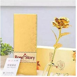 HOMEnMORE Perfect Gold Gift 24k Goldplated Rose With Vase ,Gold Box,Gold Cert...