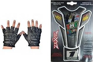 Mehdi Traders Pack of 2- Rider Gloves &The Doctor Sports Bike Tank Sticker