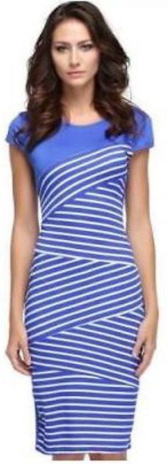 Charji Shop Blue And White Stripes Cotton Casual Pencil Dress