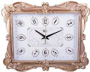 "Asaan Buy Flower Diamonds Wall Clock-20x15""-Golden"