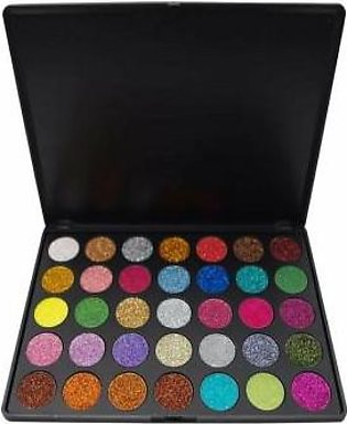 Morphe Brushes Waterproof Pressed Glitter Eyeshadow Palette - 35 Colors