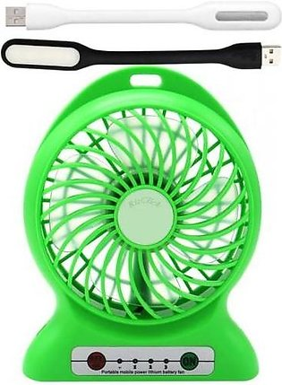 Top Shops Pack of 3-Mini Portable USB Rechargeable Fan & Power Bank + 2 USB L...