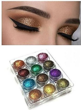 Miss Rose Pack of 12 - Dusty Glitter Eyeshadows - Multi Color