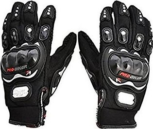 Mehdi Traders Pair of Probiker Leather Motorcycle Gloves-Black