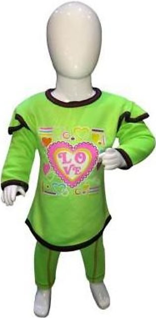 Blue Store Light Green Winter Suit Printed Round Neck For Baby Girl