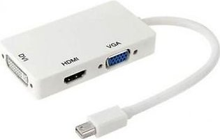 Vital Brand Mini Display Port to HDMI/DVI/VGA Display-White