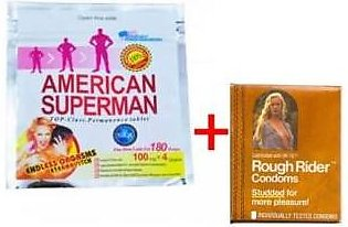 HomeShopper American Superman Timing Tablet With Rough Rider Condom For Men