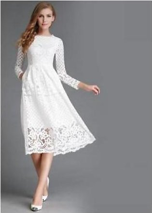 Charji Shop White Hollow Out Elegant High Quality Lace Party Dress