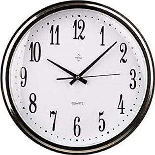 Premier Home Chrome Effect Silver Plastic Wall Clock