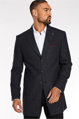 Quiz Man Navy Checked Long Coat
