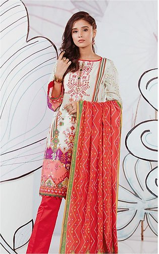 Shirt Shalwar Dupatta - Ivory White - Embroidered Lawn Suit