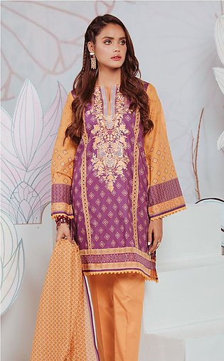 Shirt Shalwar Dupatta - Purple Orchid - Embroidered Lawn Suit
