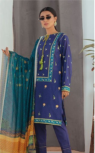 Shirt Dupatta - Royale Blue - Embroidered Lawn Suit
