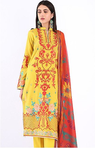 Shirt Dupatta - Royale Yellow - Embroidered Lawn Suit