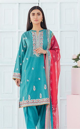 Shirt Dupatta - Emerald Green - Embroidered Lawn Suit
