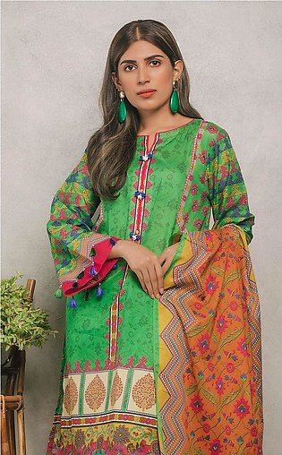 Shirt Shalwar Dupatta - Fun Green - Lawn Suit
