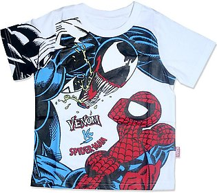BOYS WHITE SPIDERMAN T-SHIRT YL S 0220390
